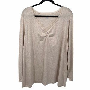 Land's End Beige Lace Long Sleeve Tee Shirt 3X